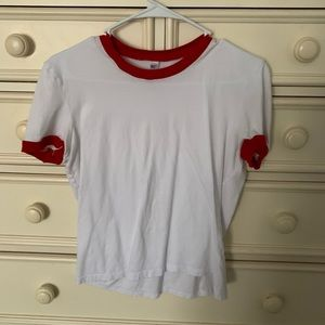 American Apparel Red & White Top